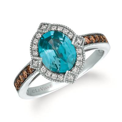 14K Vanilla Gold® Blueberry Zircon™ 1  7/8 cts. Ring with Chocolate Diamonds® 1/5 cts., Vanilla Diamonds® 1/10 cts. | SVFS 55